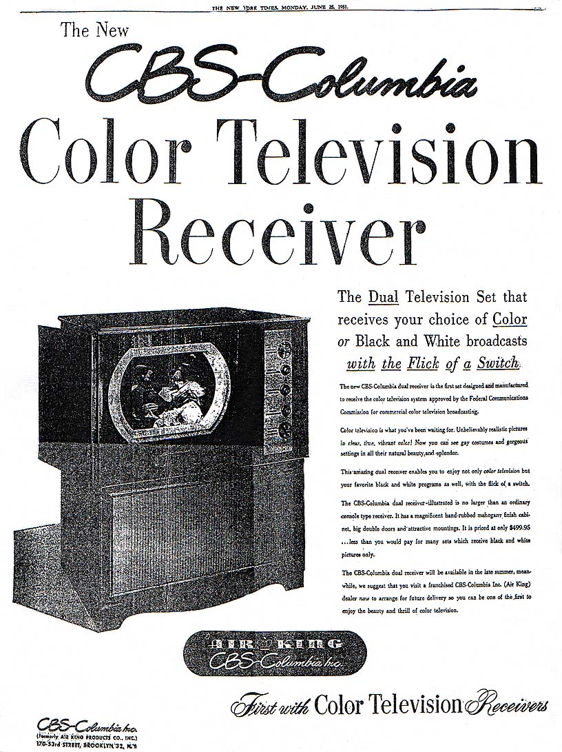 June Cbs Color Set Nyt Ad on Zenith System 3 Television